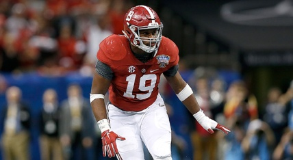 Alabama Crimson Tide linebacker Reggie Ragland (19) is seen in action during the Sugar Bowl NCAA college football playoff semifinal game against the Ohio State Buckeyes  at the Mercedes-Benz Superdome on Thursday, January 1, 2015 in New Orleans, Louisiana. Ohio State won 42-35. (AP Photo/Aaron M. Sprecher)