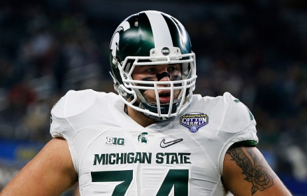 ARLINGTON, TX - DECEMBER 31:  Offensive tackle Jack Conklin #74 of the Michigan State Spartans looks on before taking on the Alabama Crimson Tide during the Goodyear Cotton Bowl at AT&T Stadium on December 31, 2015 in Arlington, Texas.  (Photo by Scott Halleran/Getty Images)